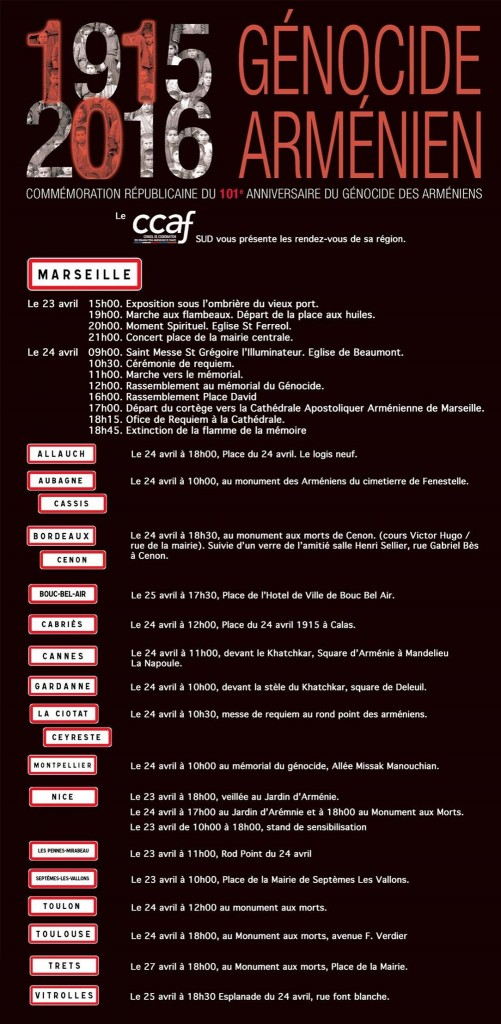 Programme des Commémorations du 23 et 24 avril 2016